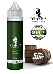 Lichid Tigara Electronica Handcrafted Drakes Menthol, NET - Extras Natural din Tutun Organic, Macerate la Rece, 50 ml, 0mg, 50VG/50PG